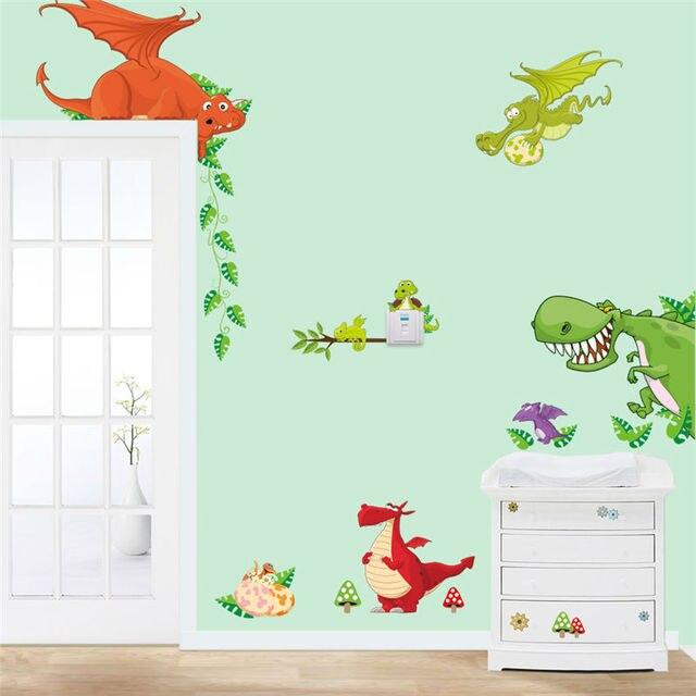 dinosaur wall art home decorations animal stickers kids room cartoon pegatinas adesivo parede children wall decals zooyoocd002