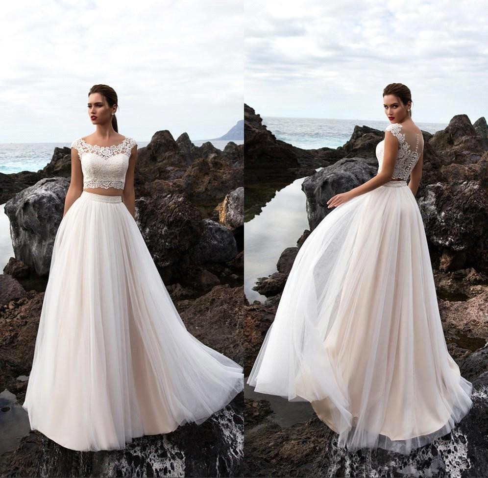 Two Pieces Tulle A Line Summer Beach Wedding Dresses 2018 Bohemia Lace Top Floor Length Wedding Bridal Gowns With Buttons