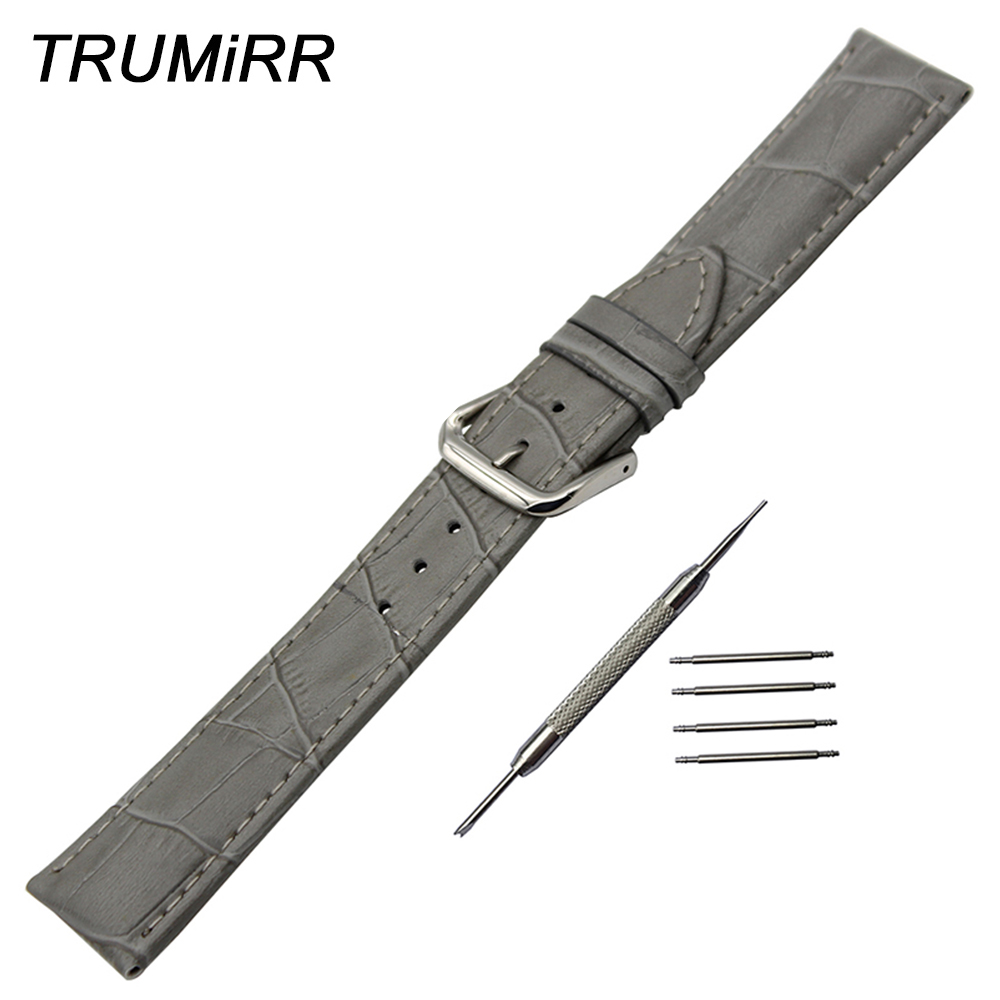 Genuine Leather Watchband 18mm 19mm 20mm 21mm 22mm 23mm 24mm Universal Watch Band Stainless Steel Buckle Strap Wrist Bracelet