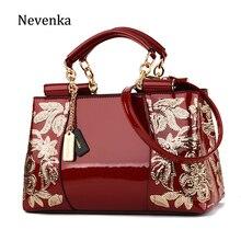 5b032cea0ec7a Nevenka Frauen Luxus Stickerei Handtasche Designer Hohe Qualität Patent Leder  Vintage Blumen Damen crossbody-tasche bolsa mode
