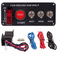 High Quality Carbon Fiber Racing Car 12V Ignition Switch Panel Engine Start Push Button LED Toggle OW