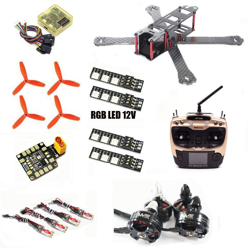 QAV-R 220 180 260 210 QAV-X qav-r quadcopter pure carbon frame kit XT60 PDB Wdiy 2204 2300kv WST 12A ESC CC3D RGB LED 12V FPV drone with camera rc plane qav 250 carbon frame f3 flight controller emax rs2205 2300kv motor fiber mini quadcopter