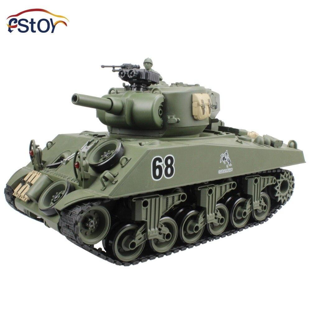 RC Réservoir USA Sherman M4A3 Principal 15 Canal 1/20 RC Modèle de Char de combat Avec Tournage Balle Son Recul Électronique Véhicule jouets
