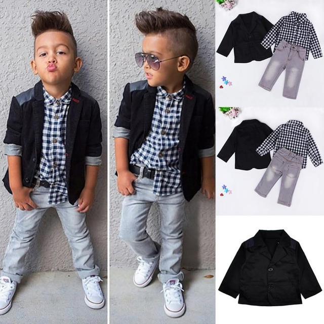 c62249cbd0885 Coat/Plaid Shirt/Denim Pants Set Kids Clothes Outfits 3PCS Baby Boys  Clothing Suit