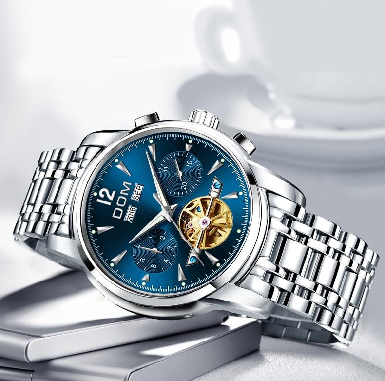 Dom relógio mecânico masculino pulso automático retro