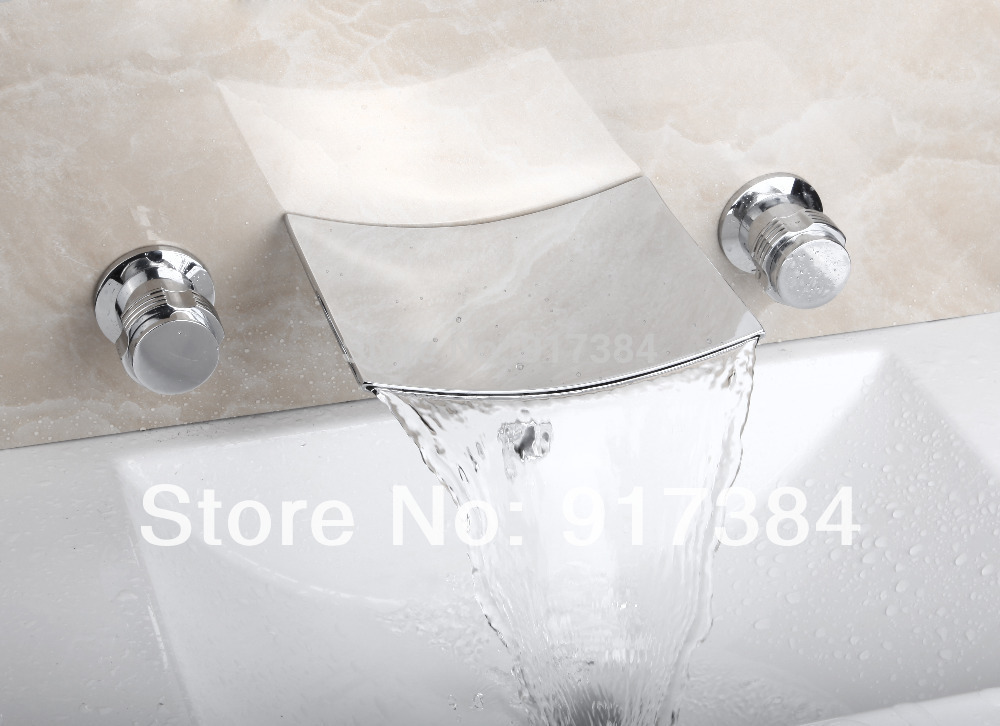Hot Sell Double Handles Ceramic Deck Mounted Waterfall Bathroom Bathtub Basin Sink Mixer Tap 3 Pieces Chrome Faucet Set FG-311 flg free shipping 3 pcs tap waterfall bathroom basin sink bathtub mixer faucet chrome finish with strainer deck mounted taps 303
