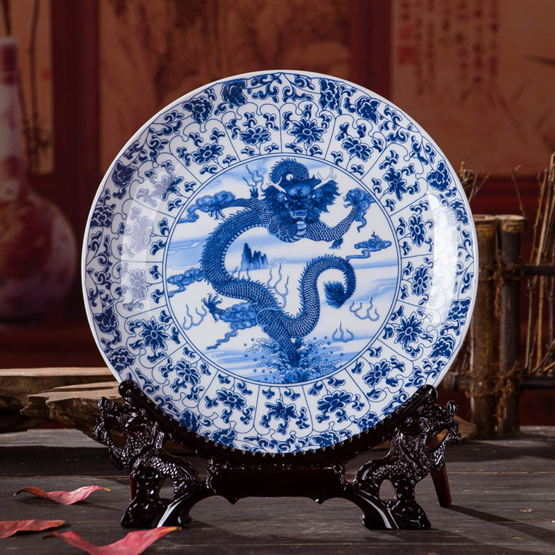 Antique Inmitation Artistic Blue And White Porcelain Decoration Plate Dish With Printed Chinese Totem Dragon Pattern Painting In Bowls Plates From Home