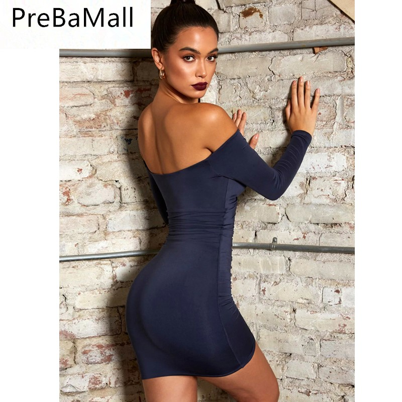 Sexy Skinny Slim Evening Party Dress Women Off Shoulder Casual Dresses Fashion Short Dress C14 in Dresses from Women 39 s Clothing