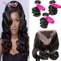 3 Bundles Indian Virgin Hair Loose Wave With Frontal Closure 7A Indian Hair 360 Lace Frontal With Bundles Curly Weave Human Hair