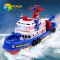 Marine Rescue Fire Boat Toys Electric Water Spraying Ship Model with Flashing Siren Sound for Children Kids Automatic Sprinkler