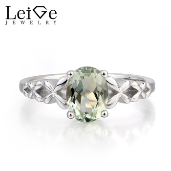 Leige Jewelry Natural Green Amethyst Ring Engagement Ring Oval Cut Gemstone Green Gems 925 Sterling Silver Solitaire Ring Gifts
