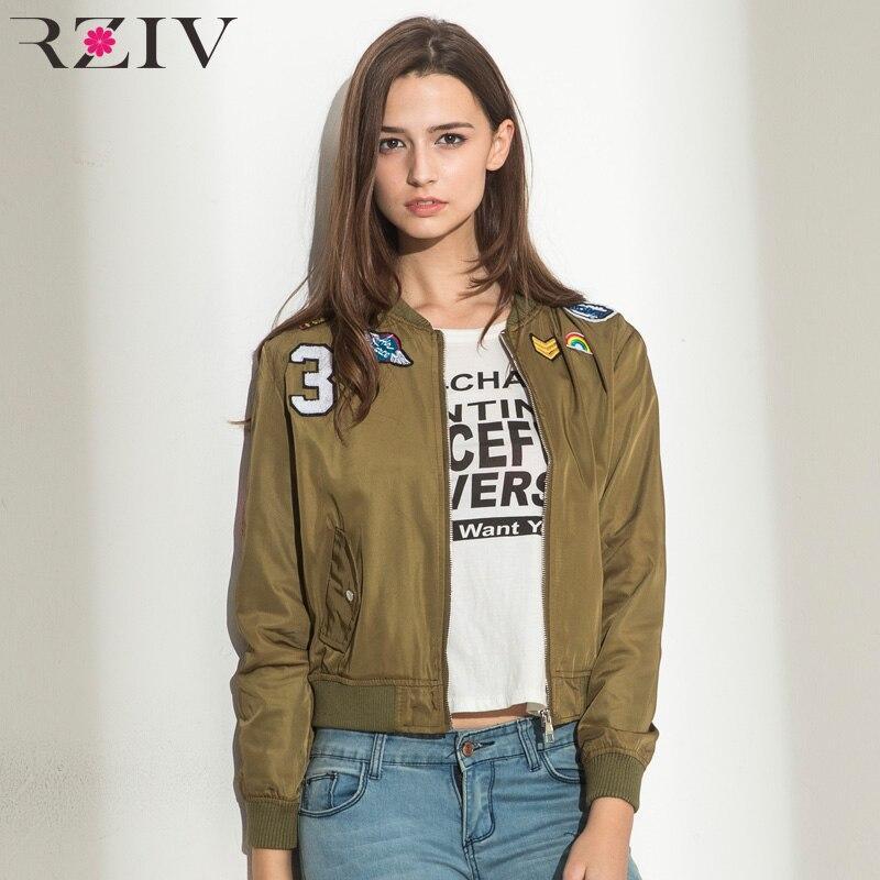 RZIV women bomber jacket basic coats and 2016 female coat flight suit  casual women coat embroidered