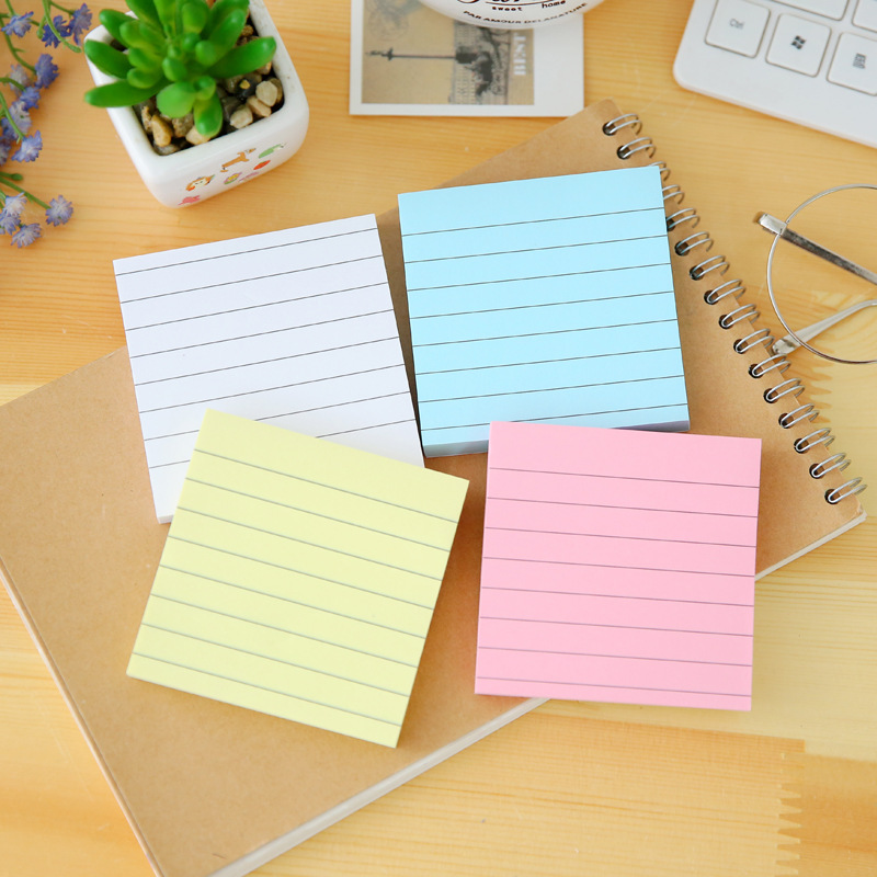 1pc Simple Kraft Paper Horizontal Line Small Note Book Candy Color Square Message Note Repeatedly Posted Sticky Note