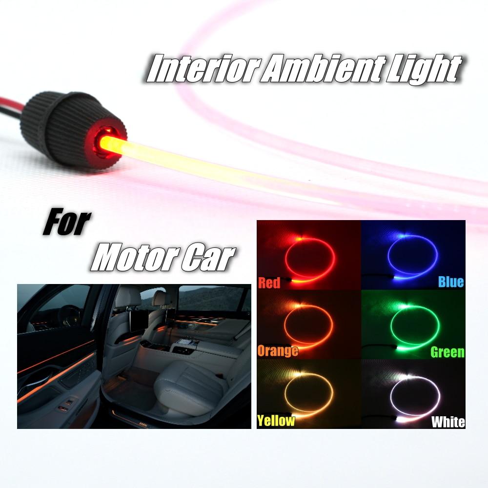 Lumière dambiance en Fiber optique | 1 mètre de long, bande de décoration universelle pour voiture, toit de porte de véhicule, tableau de bord