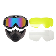цена на Harley Style Motorcycle Goggles with Mask Removable, Helmet Sunglasses Protect Padding, Road Riding UV Motorbike Glasses