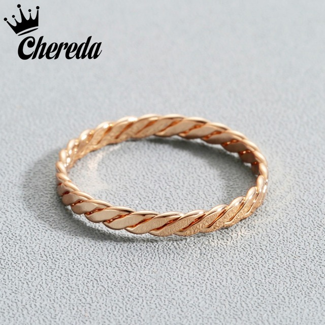 Chereda Copper Braided Rope Shape Wedding Bands Tiny Ring For Women Men Female J