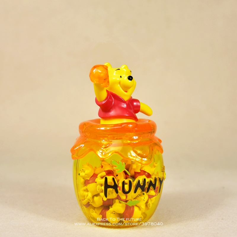 Image 2 - Disney Winnie the Pooh storage jar 16cm Action Figure Anime Decoration Collection Figurine mini doll Toy model for children giftAction & Toy Figures   -