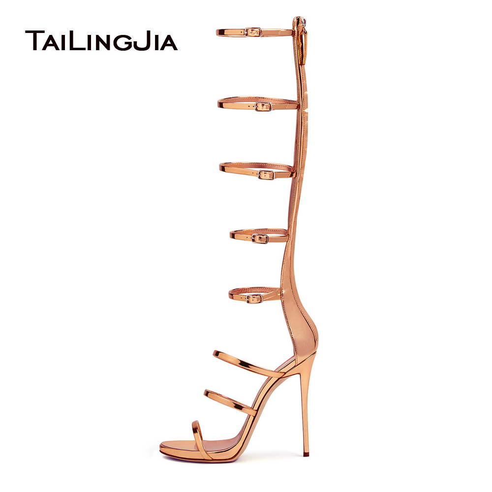 Women Shiny Rose Gold Strappy High Heel Sandals Sliver Patent Leather Gladiator Knee High Summer Boots Ladies Dress Shoes 2018 in High Heels from Shoes