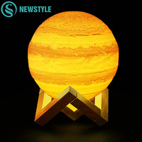 Rechargeable LED Night Light 3D Print Jupiter Earth Moon Lamp Colorful Moon Touch Push Pat USB