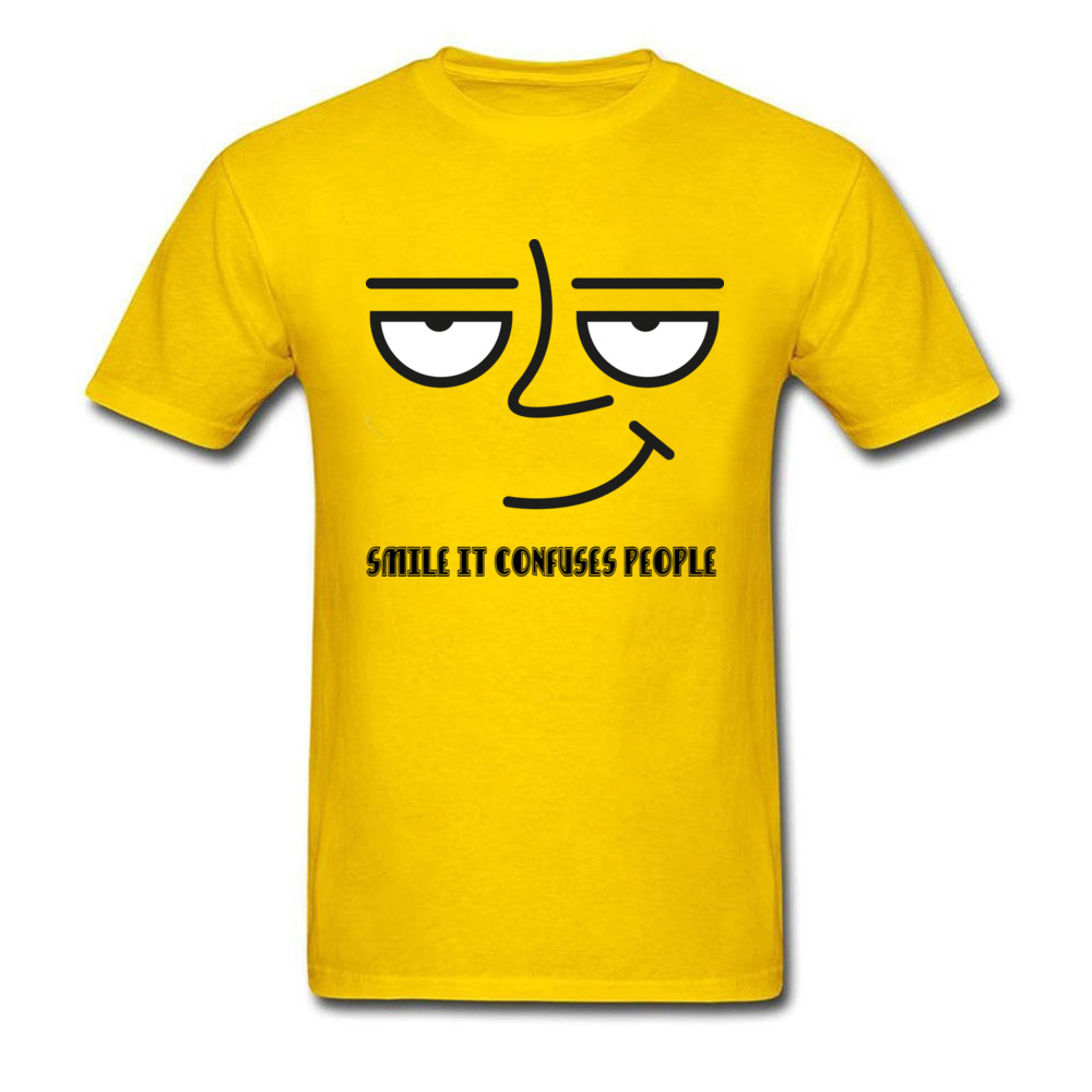 O-Neck Smile it Confuses People 100% Cotton Men T Shirt Normal Short Sleeve Tops Tees On Sale Gift Tee-Shirts Wholesale