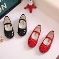 Горячие продаж 2017 новый стиль весна осень дети бантом принцесса shoes девушки танцуют leather shoes дети тонкий shoes элегантный красный