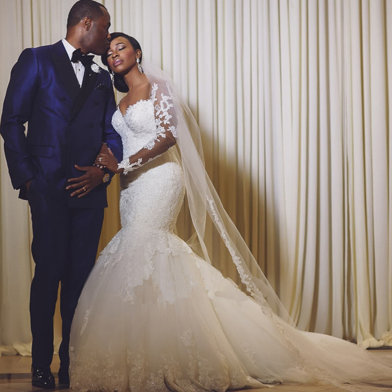 Romantic 2016 South Africa Shine Lace Appliqued Sweetheart Long Sleeves Custom Made Bridal Gowns Mermaid Wedding Dress Plus Size In Dresses From