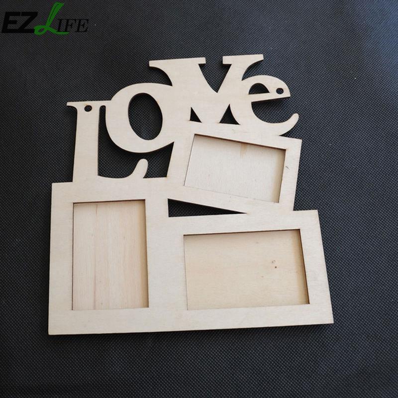 Holz Bilderrahmen DIY Liebe Form Durable Mini Familienbilderrahmen ...