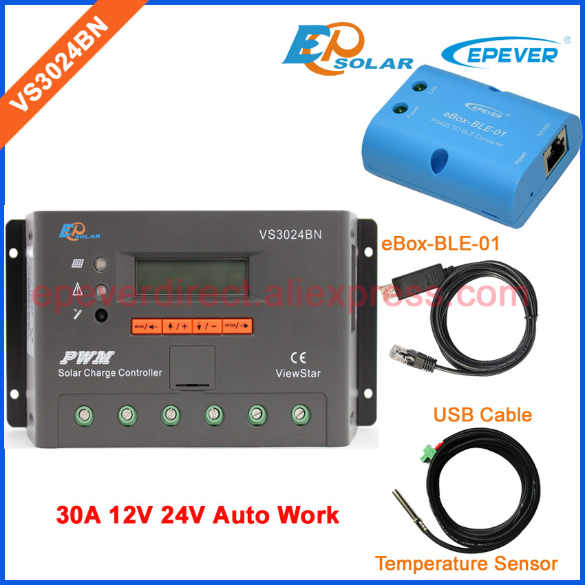 USB cable and temperature sensor VS3024BN EPEVER EPSolar 30A 12V Charger battery controller Solar PV home 24V eBOX-BLE-01 epever vs3024bn 30a 30amp epsolar charging regulator solar controller 12v 24v with temperature sensor and mt50 remote meter