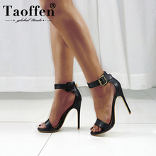 5a1ab70ac4 Taoffen Sapatos de Salto Alto Sandálias das Mulheres Sandálias de Couro PU  Verão Dropship Senhora Sexy Nude Bombas mulher Sapato.