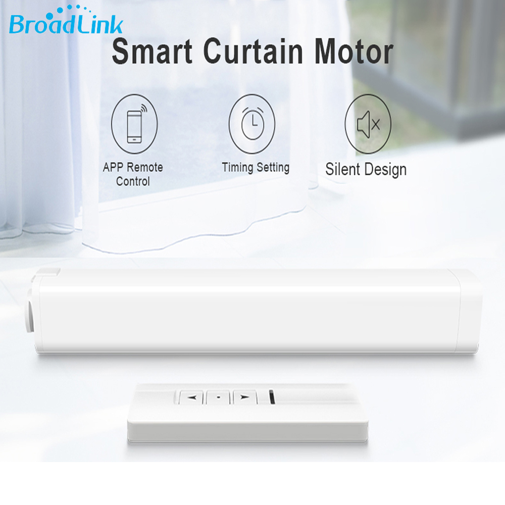 Broadlink Smart Electric Curtain Motor, Intelligent Wireless Wifi RF Remote Control Motor Compatible With RM Pro and Smartphone ewelink dooya electric curtain system curtain motor dt52e 45w remote control motorized aluminium curtain rail tracks 1m 6m