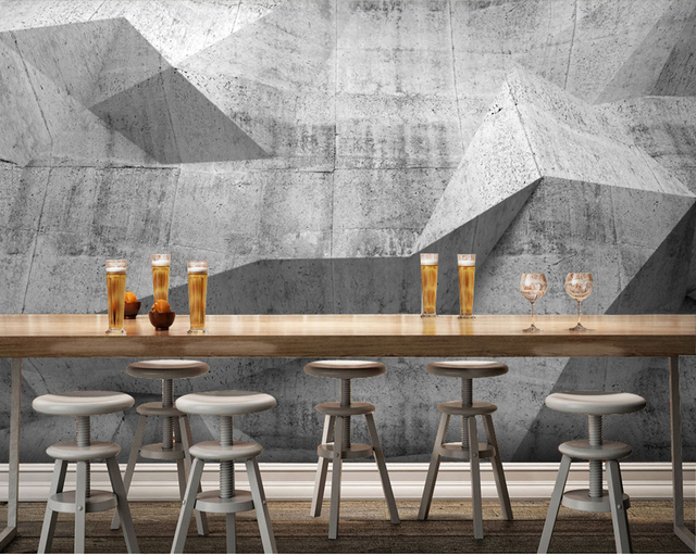 Woonkamer Met Beton : Custom 3d papel de parede beton muurschilderingen voor bar ktv