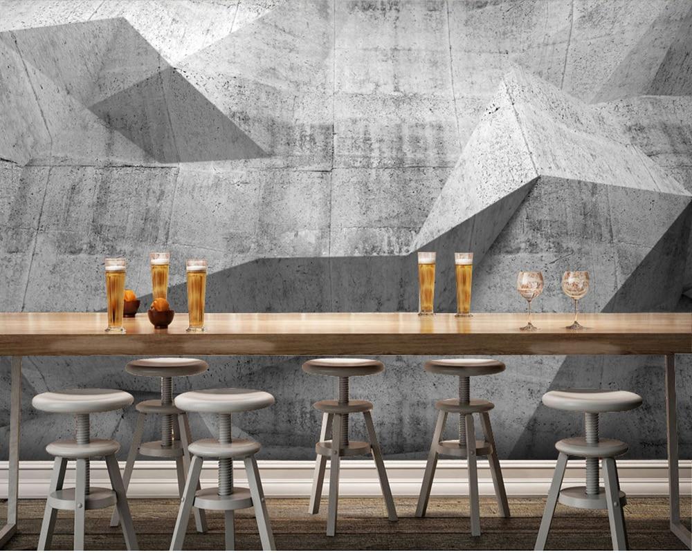 Grey Brick Wallpaper 3d Custom Modern Wallpaper Concrete Wall Murals For Bar Ktv