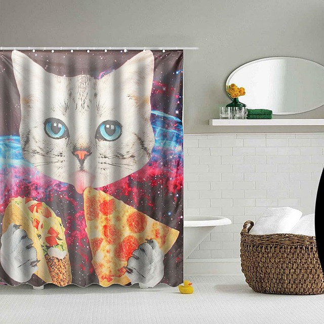 Custom Space Nebula Universe Cat Eat Pizza Bathroom Shower Curtains Water Proof Bath Curtain Kids Room