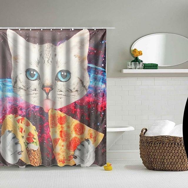 Custom Space Nebula Universe Cat Eat Pizza Bathroom Shower Curtains Water Proof Bath Curtain Kids Room Decor Gift