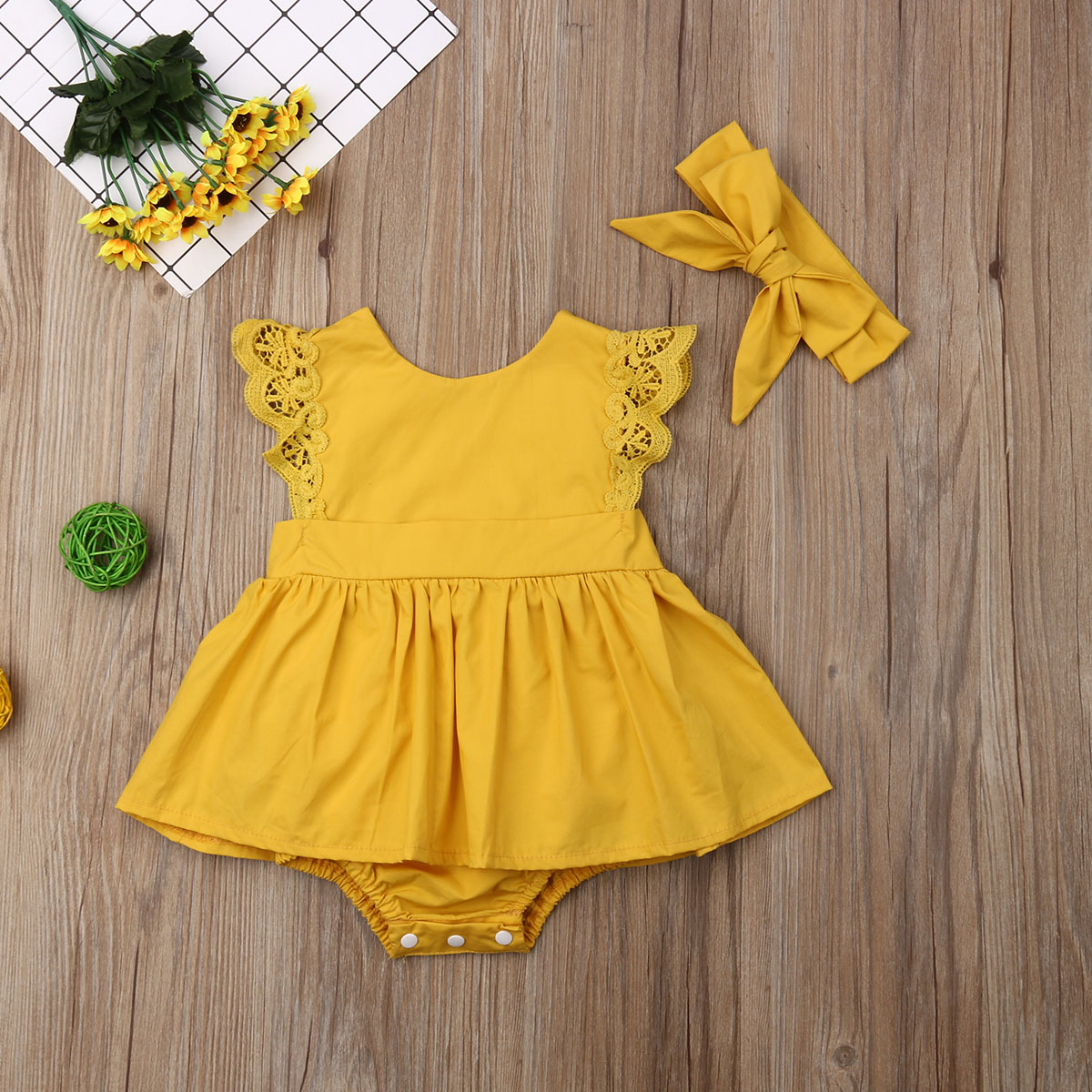 Emmababy 2019 Newborn Kid Baby Girls Lace Clothes Solid Jumpsuit Bodysuit Outfit Set