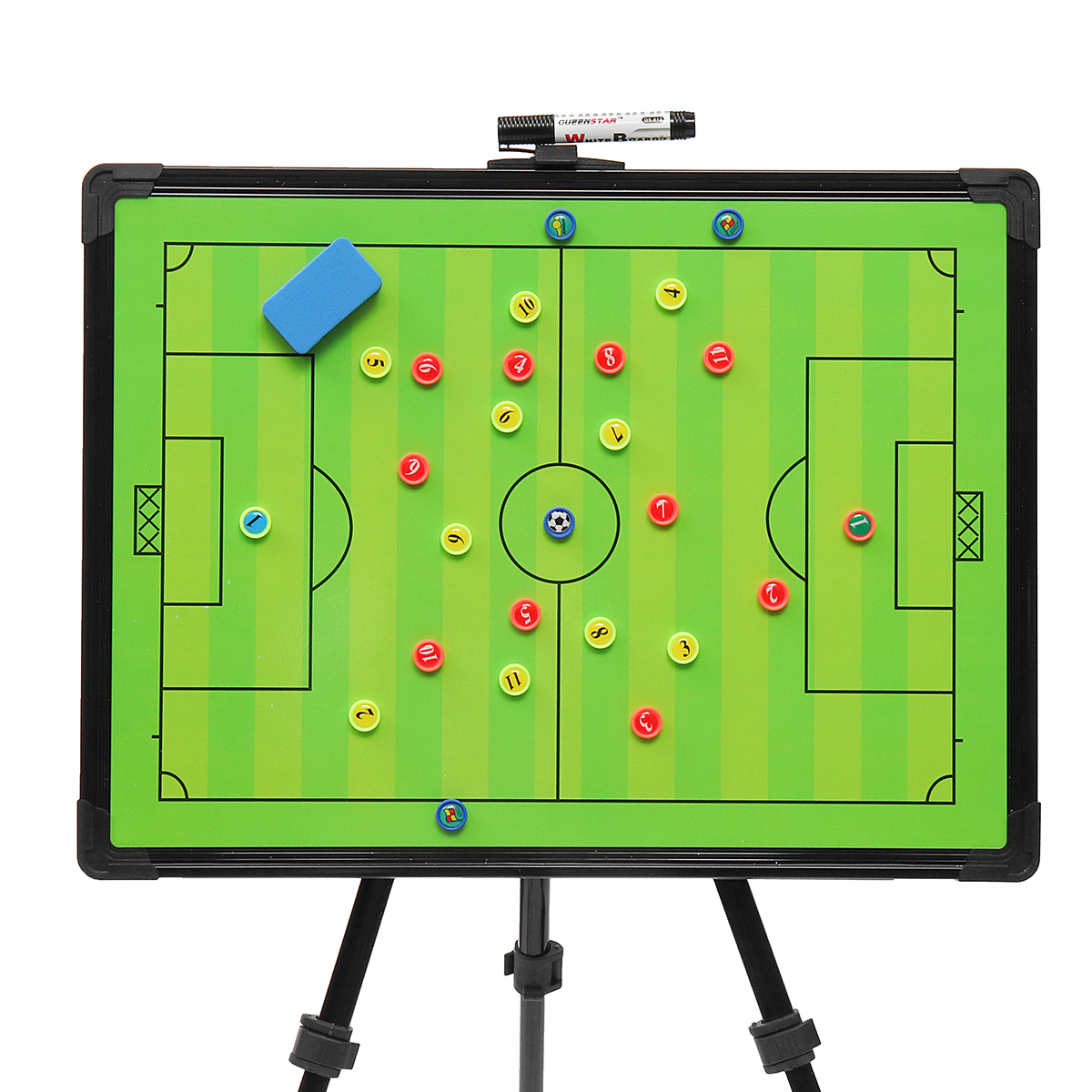 Professional Football Tactical Coaching Board Bump-proof Rubber Corners Training Guidance Magnetic w/ Tripod Stainless Steel+PVC trendy copper tube sweater chain for women