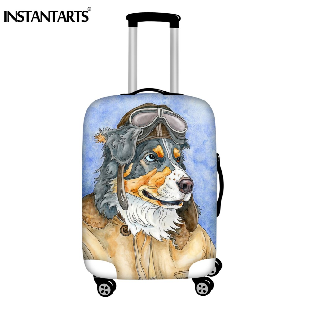 INSTANTARTS Dog Cat Aviator Printing Luggage Suitcase Cover Apply To 18-30 Inch Brand Waterproof Trolley Case Protector Covers