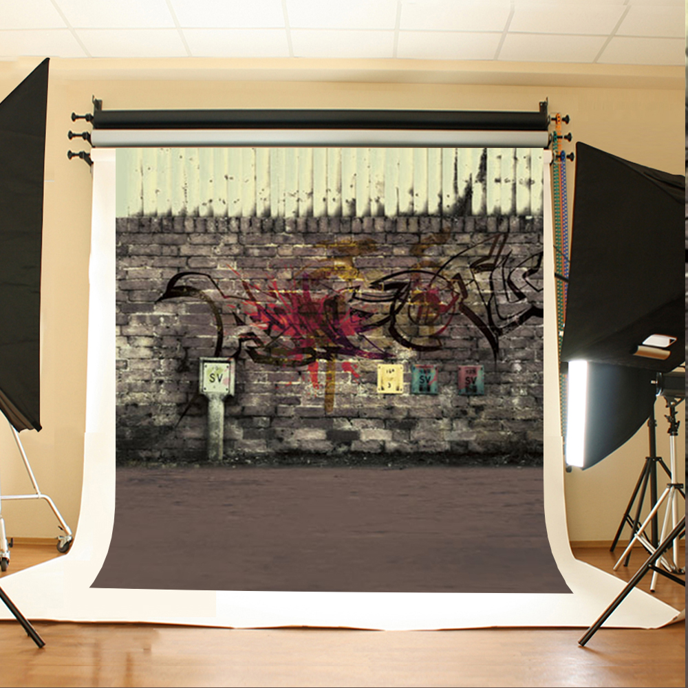 Wedding Photography Backdrops Gray Ground Computer Printing Background Graffiti Brick Wall Backgrounds for Photo Studio dark brown brick wall with white clock photography backdrops wedding background 200x300cm photo studio props fotografia