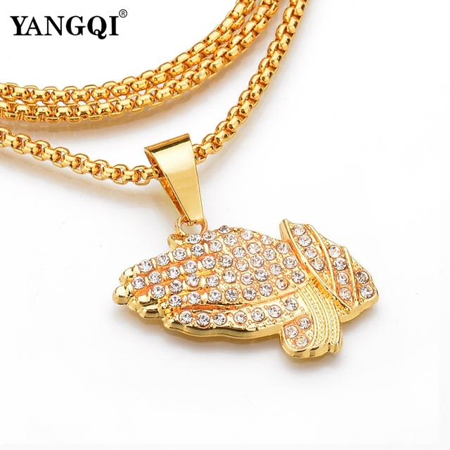 YANGQI HipHop Full Rhinestone Hand Shape Pendant Necklace Women Men Gold Color Stainless Steel Religion Prayer Necklace Jewelry 1