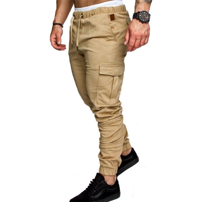 M-4XL Men Casual Joggers Pants Elastic Long Trousers Military Army Cargo Pants Men Leggings Solid Color