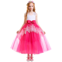 Elegant Flower Girls Princess Dress Wedding Party Bridesmaid Dress for Kid Child Vintage Tulle Ball Gown Long Dresses for Girls