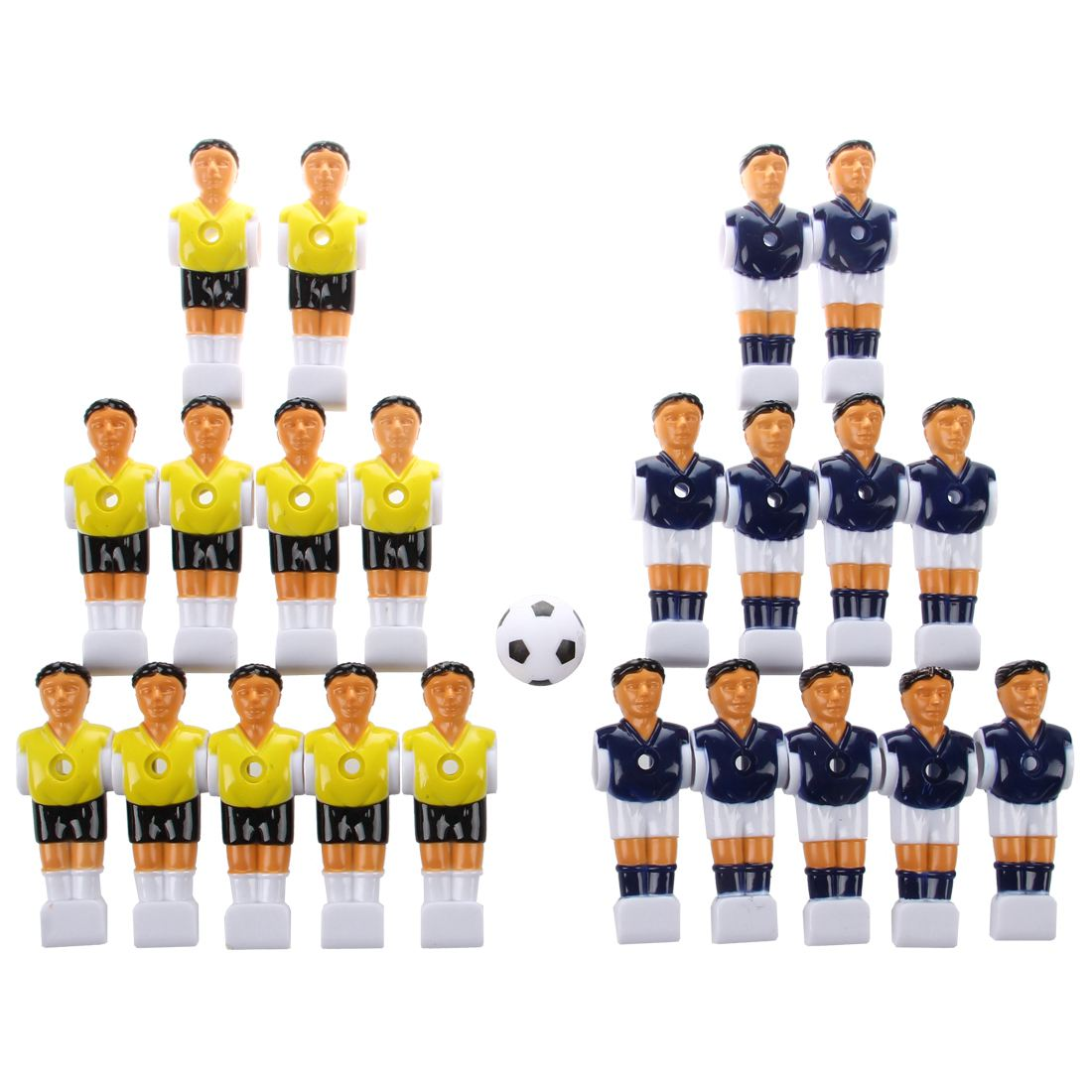 Super sell-22pcs Foosball Man Table Guys Man Soccer Player Part Yellow+Royal Blue with Ball 22pcs sand