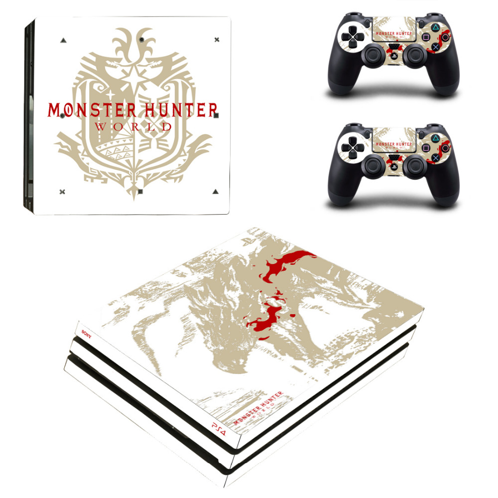 Monster Hunter World PS4 Pro Skin Sticker Decal for PlayStation 4 Console and 2 Controller PS4 Pro Skin Sticker Vinyl