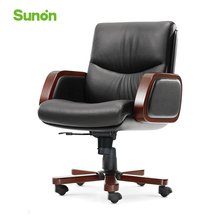 High Quality Leather Boss Chair Wood Armrest Executive Chair Genuine Leather Reclining Computer Chairs for Office Furniture