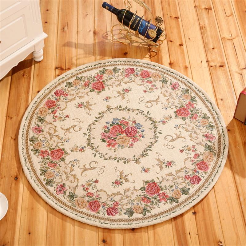 Round Jacquard Countryside Carpets For Living Room Flower Bedroom Rugs And Carpets Computer Chair Floor Mat
