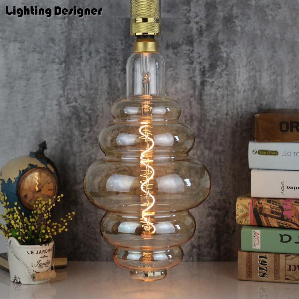 Grande taille ampoule dimmable Edison ampoule E27 doux LED Filament Vintage lampe à LED grand hamburger décor ampoule 6 W 220 V lumière blanc chaud