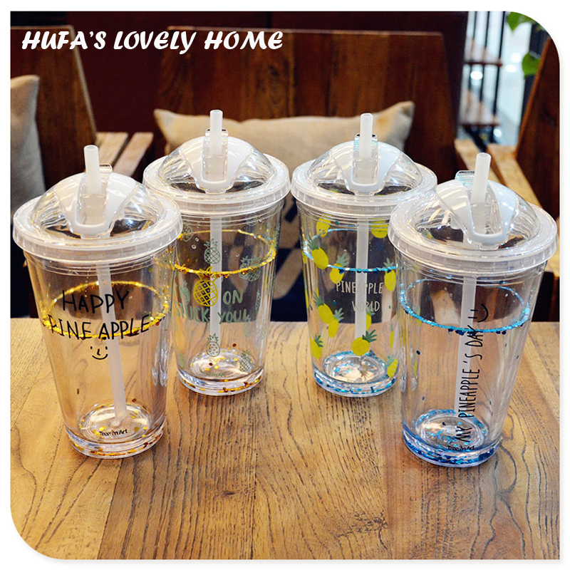 My Double Layer Plastic Water Bottle With Straw Portable Juice Tea Coffee Drinkware With Cover Home Office caneca
