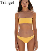 Trangel High Cut Bikini Set Solid Color Swimwear Women 2018 Beach Bathing Suit Bandeau Bikinis Women