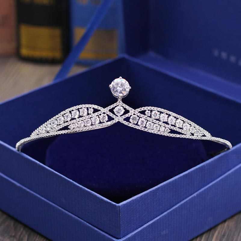 Red Trees High Quality Princess Crown For Brides Luxury Cubic Zircon Tiara Wedding Hair Accessories coroa de noiva