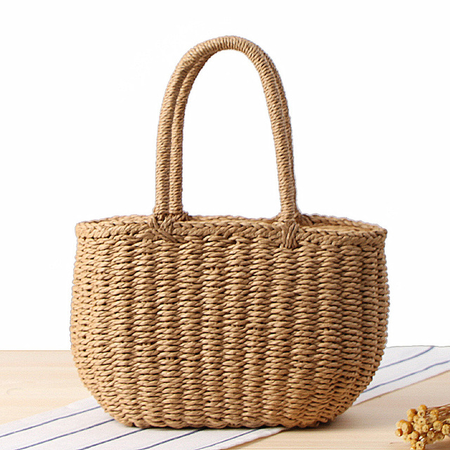 Fashion Tote Handbag Summer Beach Bag Straw Weave Handmade Basket ...